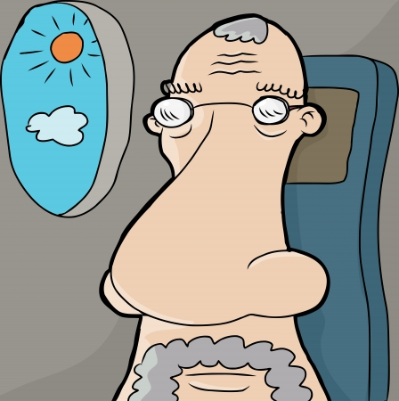 European senior man with large nose in airplane seat Illustration