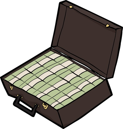 Stacks of cash inside an open briefcase over white