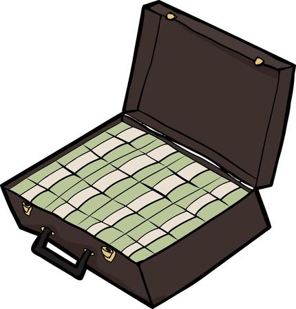 Stapels van contant geld in een open koffer over wit Stock Illustratie