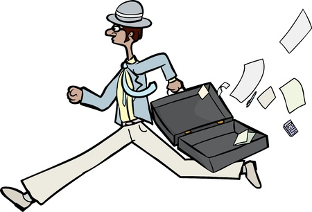 Running businessman with open briefcase and loose papers