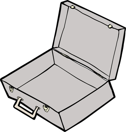 open suitcase: Empty open suitcase cartoon over white background