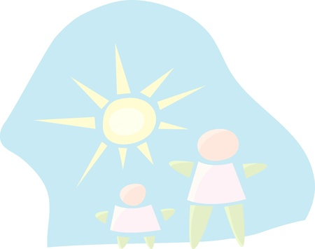 Abstract parent and child figures with sun and sky background