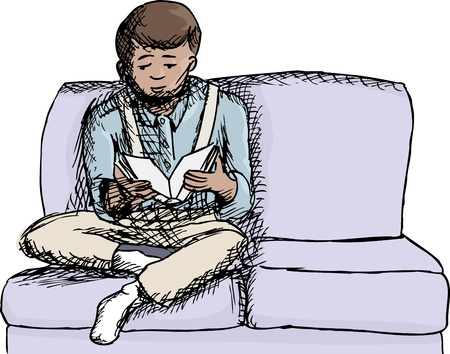 Sketch of Hispanic boy on sofa reading book Vector