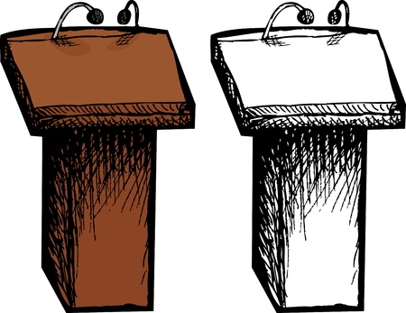 clipart podium: Color and black and white lectern cartoons
