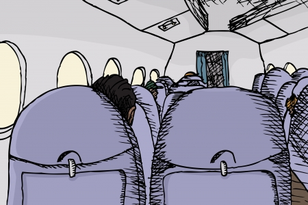 Airplane interior cartoon from back seat view Vector