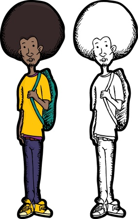 afro hair: Skinny teenage Black man with afro hair style and backpack