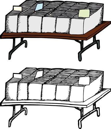 Opklapbare tafel met dozen van comic books op een witte achtergrond