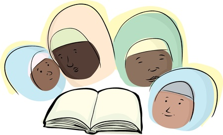 a righteous person: Group of four Muslim women around a book Illustration