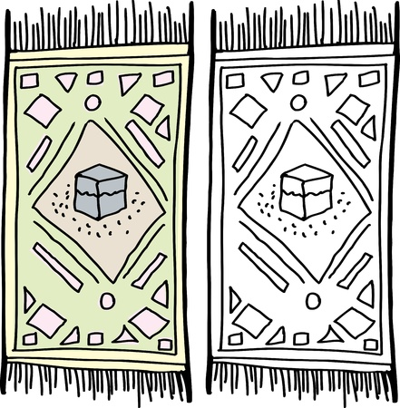 prayer rug: Isolated prayer rug with Kaaba in the middle