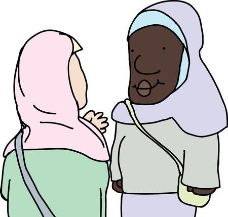 Illustration of Muslim women talking over isolated background 向量圖像