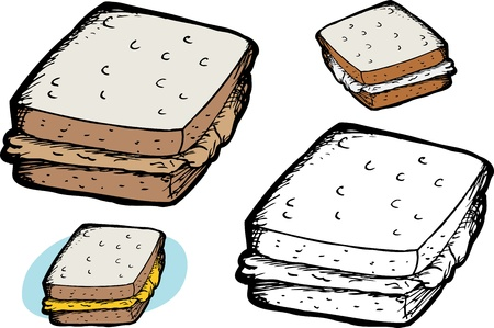 Isolated peanut butter sandwich over white background 向量圖像