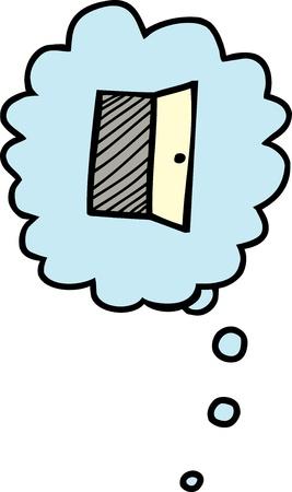 fascinação: Dos desenhos animados de porta aberta no balão de pensamento sobre o branco
