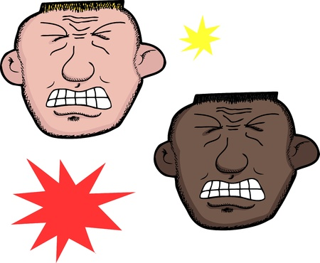 cramping: European and African men in pain over white background