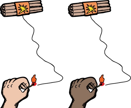 revenge: Dynamite sticks with fuse being lit by hand on isolated background Illustration