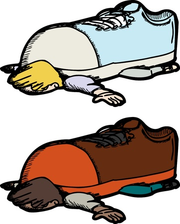 oppression: Cartoon of person crushed by giant shoe over white background Illustration