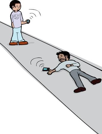 man on cell phone: Hombre con el tel�fono celular ve al hombre muerto con el tel�fono celular
