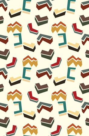 three dimensional: Seamless background pattern of three dimensional shapes