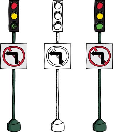 street lamp: No left turn traffic light over white background