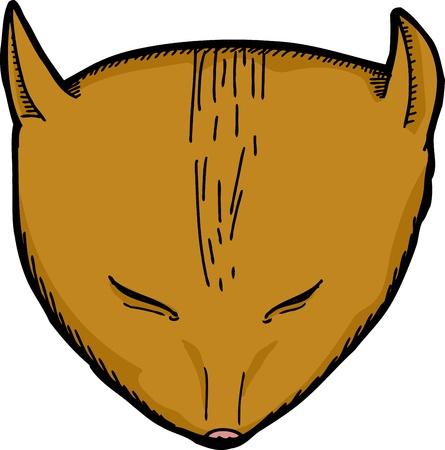 geschlossene augen: Cartoon der Katze mit geschlossenen Augen �ber wei�em Hintergrund