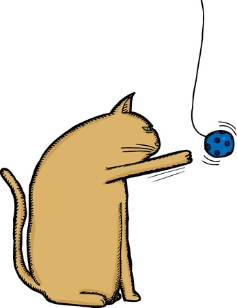 Bored brown cat playing with blue ball on string Illustration