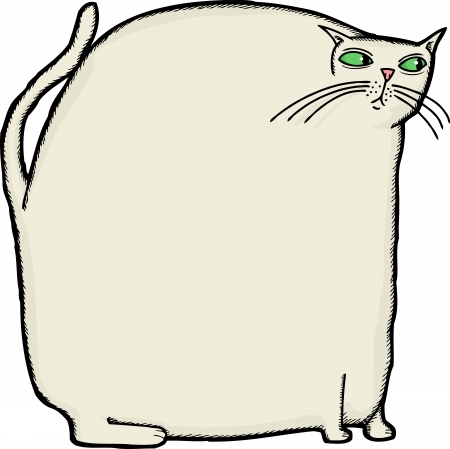 Overweight white cat sitting on isolated background Vector
