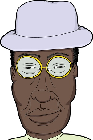 Cartoon of African man with hat and eyeglasses Stock Vector - 20323169