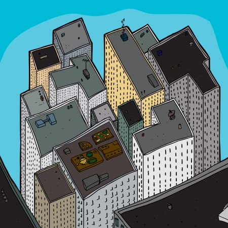 city view: View of many tall buildings from above