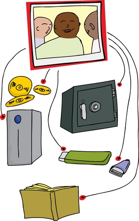 Photo backup system diagram over white background Illusztráció