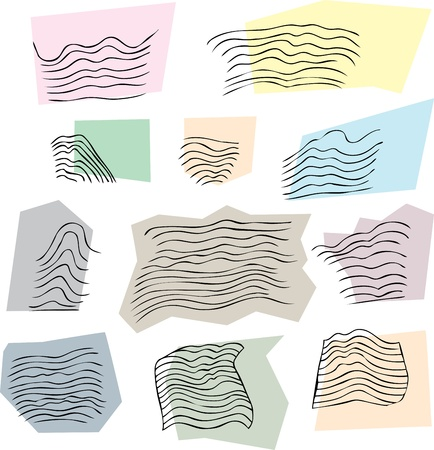 sketch out: Set of abstract natural wavy patterns on white background