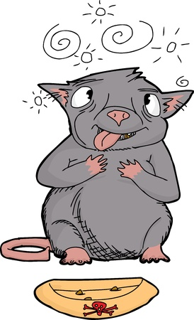 Cartoon of cross eyed rat choking on poison Vector