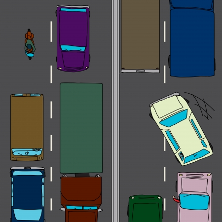 road rage: Aggressive drivers on crowded two lane highway Illustration
