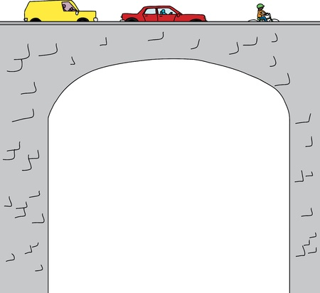 Old stone arched bridge with cars and bicyclist Vector