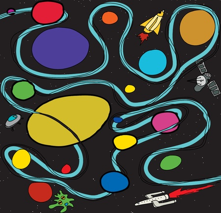 rocketship: Doodle outer space scene with ships and planets