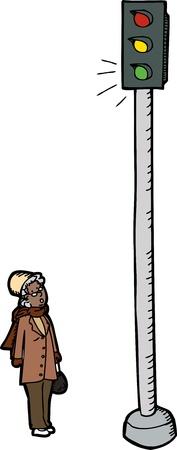 frau nach oben schauen: �berrascht �ltere Frau neben Ampel auf wei�em Hintergrund