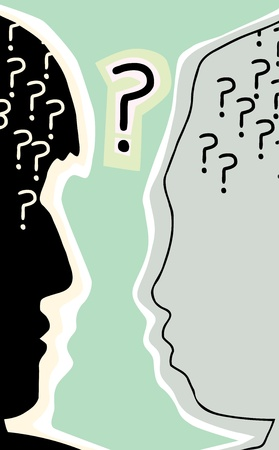 prejudice: Profile views of human head with question marks