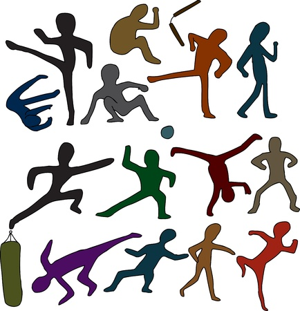 cartwheel: Set of martial arts people and objects over white background