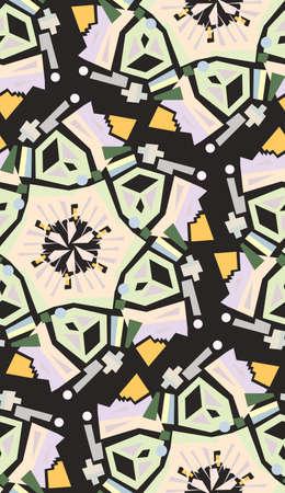 Seamless background pattern of kaleidoscope wheel shapes