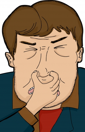 disgusted: Mature Caucasian man holding nose over isolated background