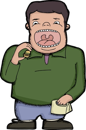 open sandwich: Man with big mouth eating one tiny hamburger