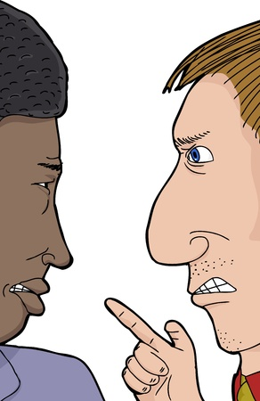 insulting: Pair of African and Caucasian men angry with each other Illustration