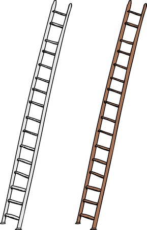 aluminum: Aluminum and wooden ladders on isolated white background Illustration