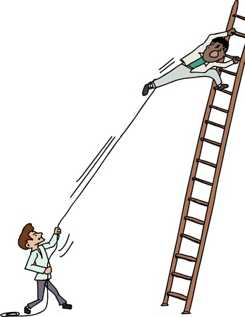 Jealous man pulling another man climbing up a ladder