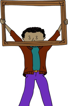 biracial: Young man holding up empty picture frame Illustration