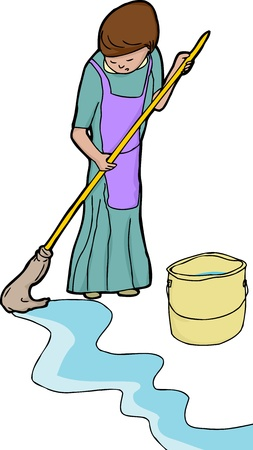 woman looking down: Lady in apron mopping floor over white background Illustration