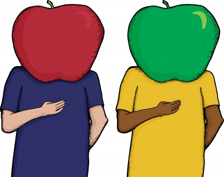 Cartoon of person with apple on head