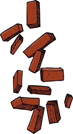 Group of loose bricks falling on white background