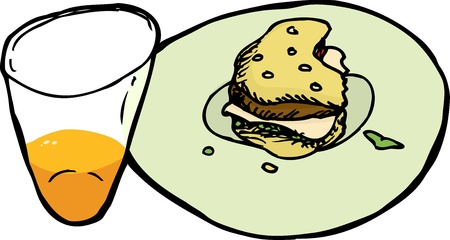 Plate with part of burger and glass with juice