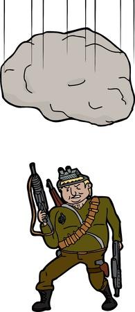둥근 돌: 큰 돌맹이는 많은 무기를 산만 사람에 떨어지는
