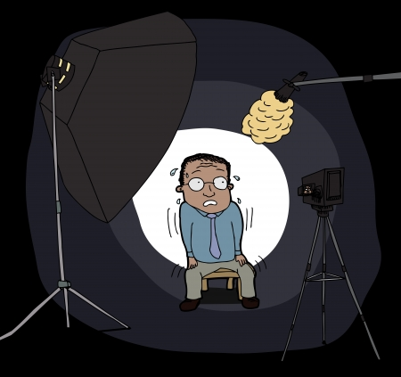 Nervous Hispanic man in front of camera and lights