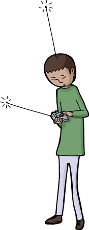 satire: Boy with remote control and antenna on head